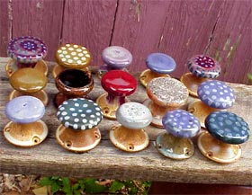 Gas-fired stoneware pottery knobs: Seigel Pottery