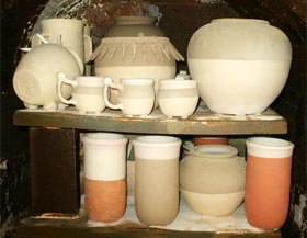 wood-fired pottery, pre firing: Seigel Pottery